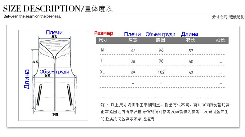 Размерная сетка женских жилеток из Китая. СП Севастополь. Дешёвые вещи.
